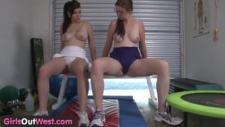 Fitness lesbians having fun in the gym