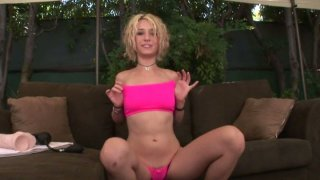 Beddable girl Proxy Paige enjoys her dildo collection