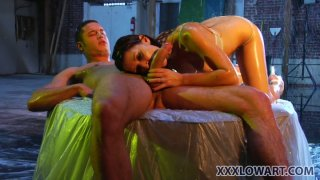 Ann Marie Rios rubs her soapy body and gives a great blowjob