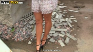 Slender red-haired babe is picked up by kinky black dude