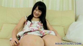 Stupid teen whore Yuka Kojima enjoys fingering and vibrator drilling