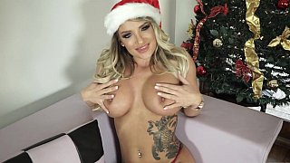 Santa's busty blonde helper