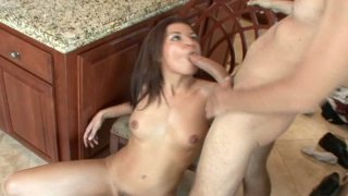 Nasty brunette Ann Marie Rios has fun riding cock