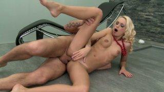 Voracious blonde beauty Erica Fontes has her tiny asshole gaped