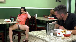 Mandy Muse seducing a guy int the cafe