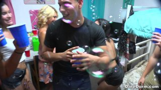College party involves deep cock sucking and hard pussy pounding