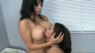 Lustful dykes Ann Marie Rios and Jelena Jensen are greedily eating each other