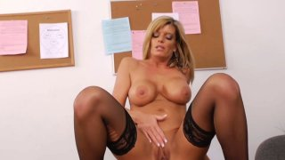 Busty aunty Kristal Summers with big boobs jumps on a cock passionately