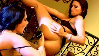 Stunning brunette lesbians Jayden Jaymes and Ann Marie Rios eat their pussies