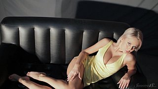 Mandy Dee striptease on the couch