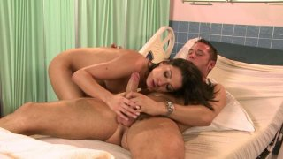 Horny nurse Ann Marie Rios gives a good treatment to Danny Mountain's dick