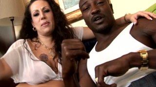 Sex attractive brunette Anjelica Lauren has a deal with ebony guy