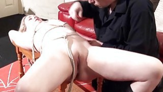 Sexy damsel in distress Amber West in bondage and