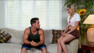 Slutty college chick Lia Lor wants to fuck younger brother of her friend