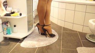Sexy Black 17cm High Heels Sandals walking Bathroom