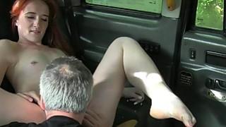Redhead British student bangs in fake taxi