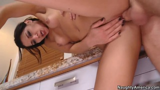 Enjoy watching this hot Latin couple Ann Marie Rios and her boyfriend Dane Cross hotly fucking at the kitchen.